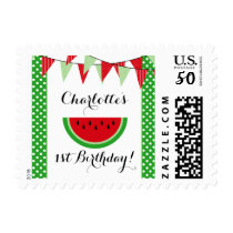 Watermelon Red Green Bunting Birthday Party Postage