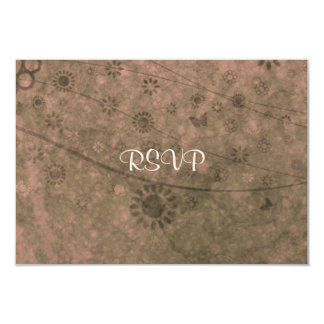 """Watermelon Retro Flowers and Butterflies Abstract 3.5"""" X 5"""" Invitation Card"""