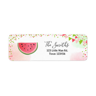 Watermelon Return Address Label Melon Party Fruit