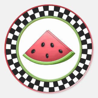Watermelon Round Checkerboard Stickers