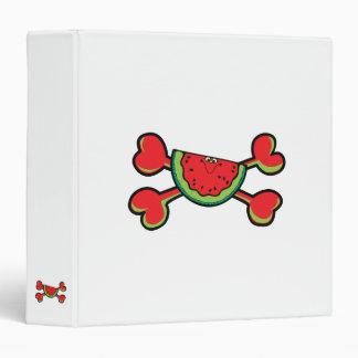 watermelon Skull red Crossbones 3 Ring Binder