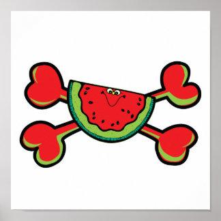 watermelon Skull red Crossbones Poster