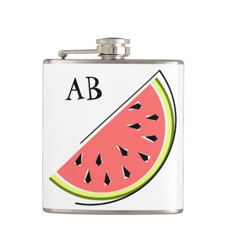 Watermelon Slice Monogram Flask