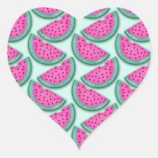 watermelon slice print heart sticker