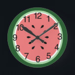 """Watermelon Slice Round Clock<br><div class=""""desc"""">A fun clock designed to look like a slice of watermelon. If you prefer the clock without numbers,  simply click &quot;Customize It&quot;,  click on the &quot;clock face transp&quot; image and then click on the X to delete the image of the numbers.</div>"""