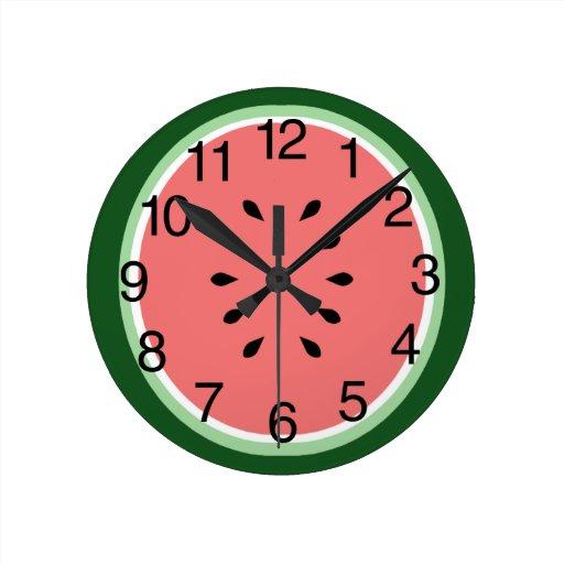 Watermelon Slice Round Wall Clocks Zazzle