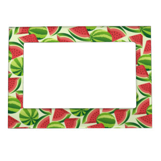 Watermelon slice seamless background magnetic frame