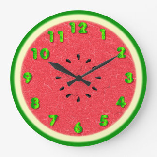 Watermelon Slice Summer Fruit Large Clock