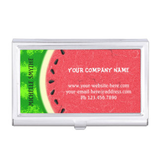 Watermelon Slice Summer Fruit with Rind Business Card Holder