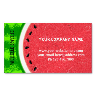Watermelon Slice Summer Fruit with Rind Business Card Magnet
