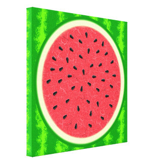 Watermelon Slice Summer Fruit with Rind Stretched Canvas Prints