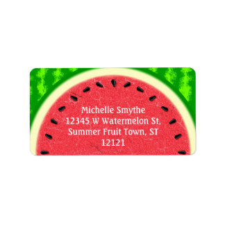 Watermelon Slice Summer Fruit with Rind Address Label
