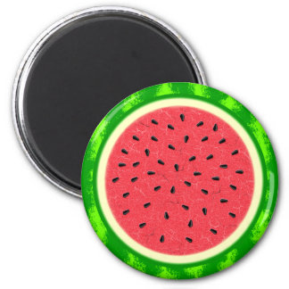Watermelon Slice Summer Fruit with Rind 2 Inch Round Magnet
