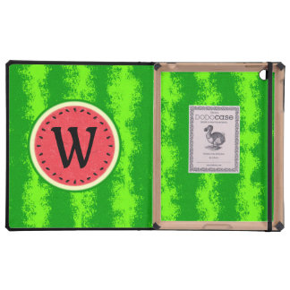 Watermelon Slice Summer Fruit with Rind Monogram iPad Folio Cases