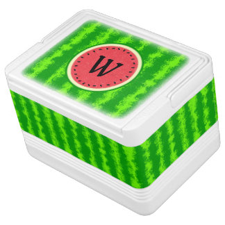 Watermelon Slice Summer Fruit with Rind Monogram Igloo Cooler
