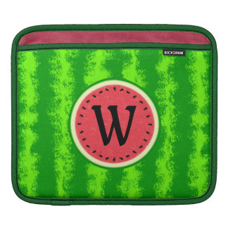 Watermelon Slice Summer Fruit with Rind Monogram iPad Sleeves