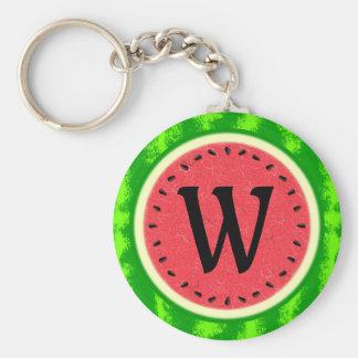Watermelon Slice Summer Fruit with Rind Monogram Keychains