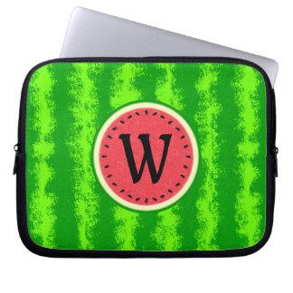Watermelon Slice Summer Fruit with Rind Monogram Laptop Computer Sleeve