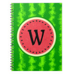 Watermelon Slice Summer Fruit with Rind Monogram Spiral Note Book