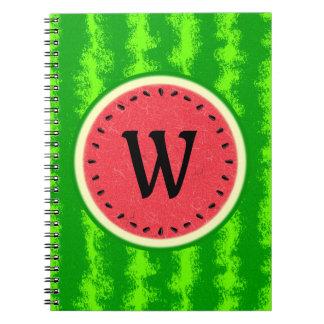 Watermelon Slice Summer Fruit with Rind Monogram Notebook