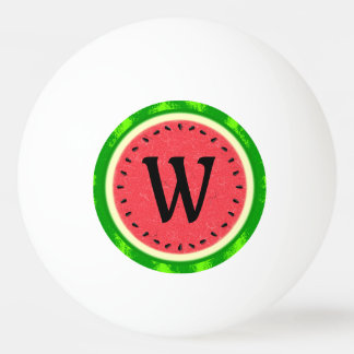 Watermelon Slice Summer Fruit with Rind Monogram Ping-Pong Ball