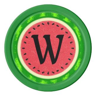 Watermelon Slice Summer Fruit with Rind Monogram Poker Chip Set