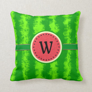 Watermelon Slice Summer Fruit with Rind Monogram Throw Pillow