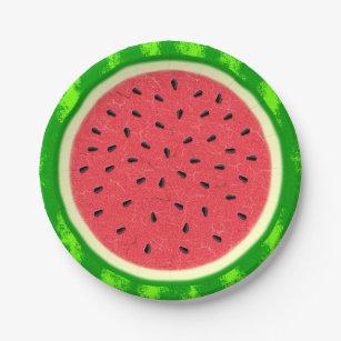 Watermelon Slice Summer Fruit with Rind Paper Plate  sc 1 st  Zazzle & Cute Watermelon Slices Plates | Zazzle