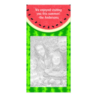 Watermelon Slice Summer Fruit with Rind Personalized Photo Card