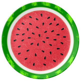 Watermelon Slice Summer Fruit with Rind Plate