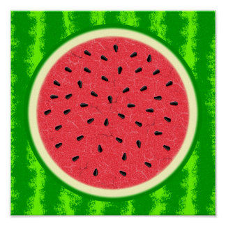 Watermelon Slice Summer Fruit with Rind Poster