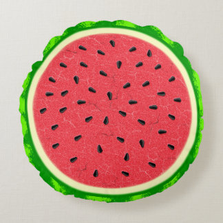 Watermelon Slice Summer Fruit with Rind Round Pillow