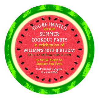 Watermelon Slice Summer Party Cookout or Birthday 5.25x5.25 Square Paper Invitation Card