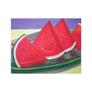 Watermelon Slices Stretched Canvas Print