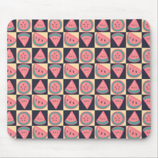 Watermelon Slices - Checkered Pattern Mouse Pad
