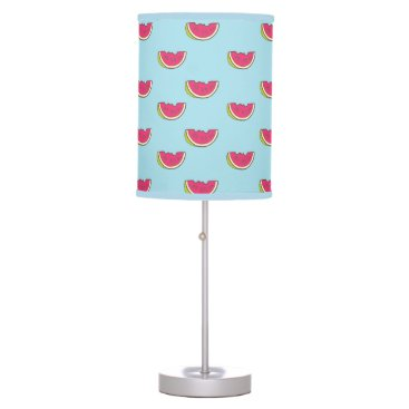 Beach Themed Watermelon Slices on Teal Pattern Desk Lamp