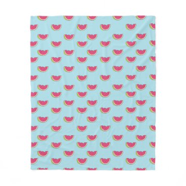 Watermelon Slices on Teal Pattern Fleece Blanket