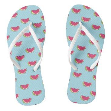Watermelon Slices on Teal Pattern Flip Flops
