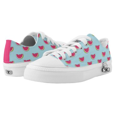 Watermelon Slices on Teal Pattern Low-Top Sneakers