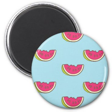 Watermelon Slices on Teal Pattern Magnet