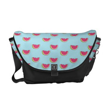 Beach Themed Watermelon Slices on Teal Pattern Messenger Bag