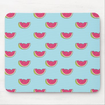 Watermelon Slices on Teal Pattern Mouse Pad