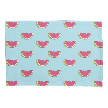 Watermelon Slices on Teal Pattern Pillowcase