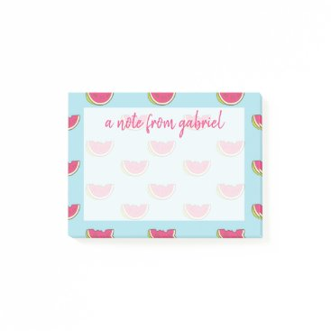 Beach Themed Watermelon Slices on Teal Pattern Post-it Notes
