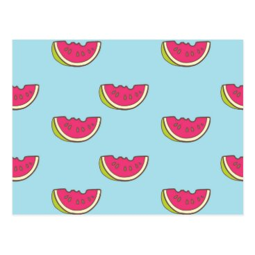 Watermelon Slices on Teal Pattern Postcard