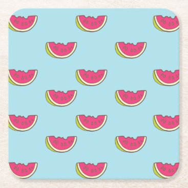 Watermelon Slices on Teal Pattern Square Paper Coaster