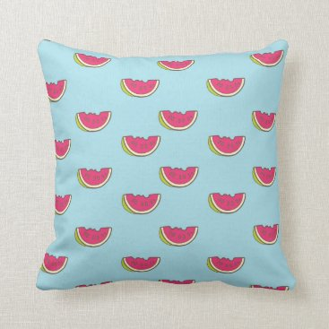 Beach Themed Watermelon Slices on Teal Pattern Throw Pillow