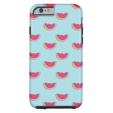 Beach Themed Watermelon Slices on Teal Pattern Tough iPhone 6 Case