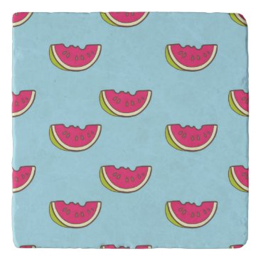 Watermelon Slices on Teal Pattern Trivet