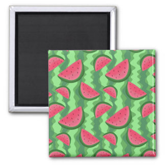 Watermelon Slices Pattern 2 Inch Square Magnet